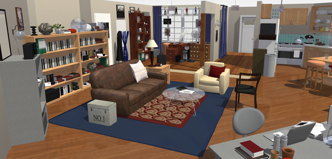 The big bang theory apartment in 3d homebyme for Living in a model apartment