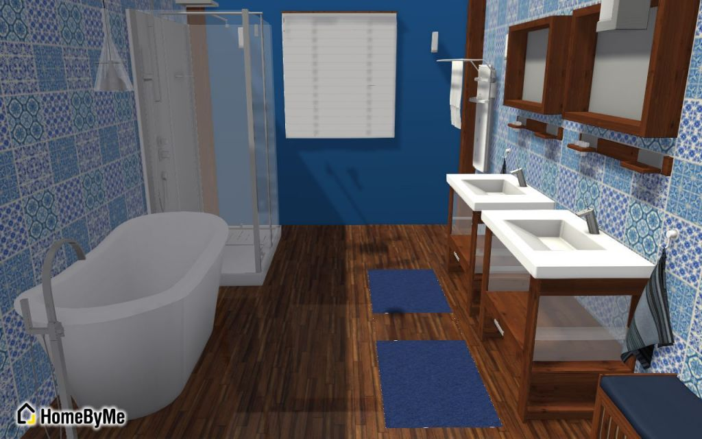 Nos 10 salles de bain pr f r es du moment homebyme - Salle de bain bleu et gris ...