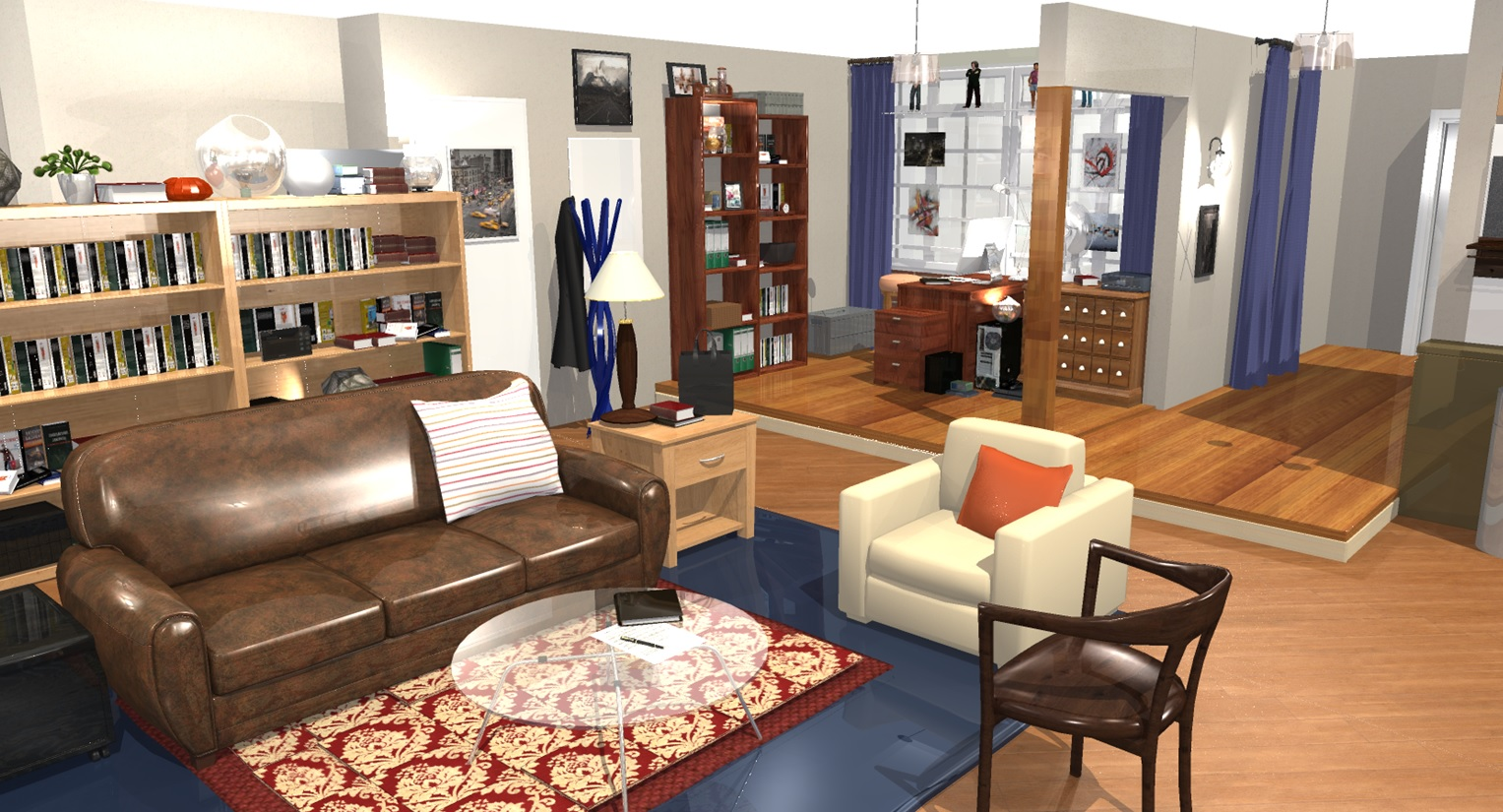 The big bang theory wohnung in 3d homebyme for Living room setups for apartments