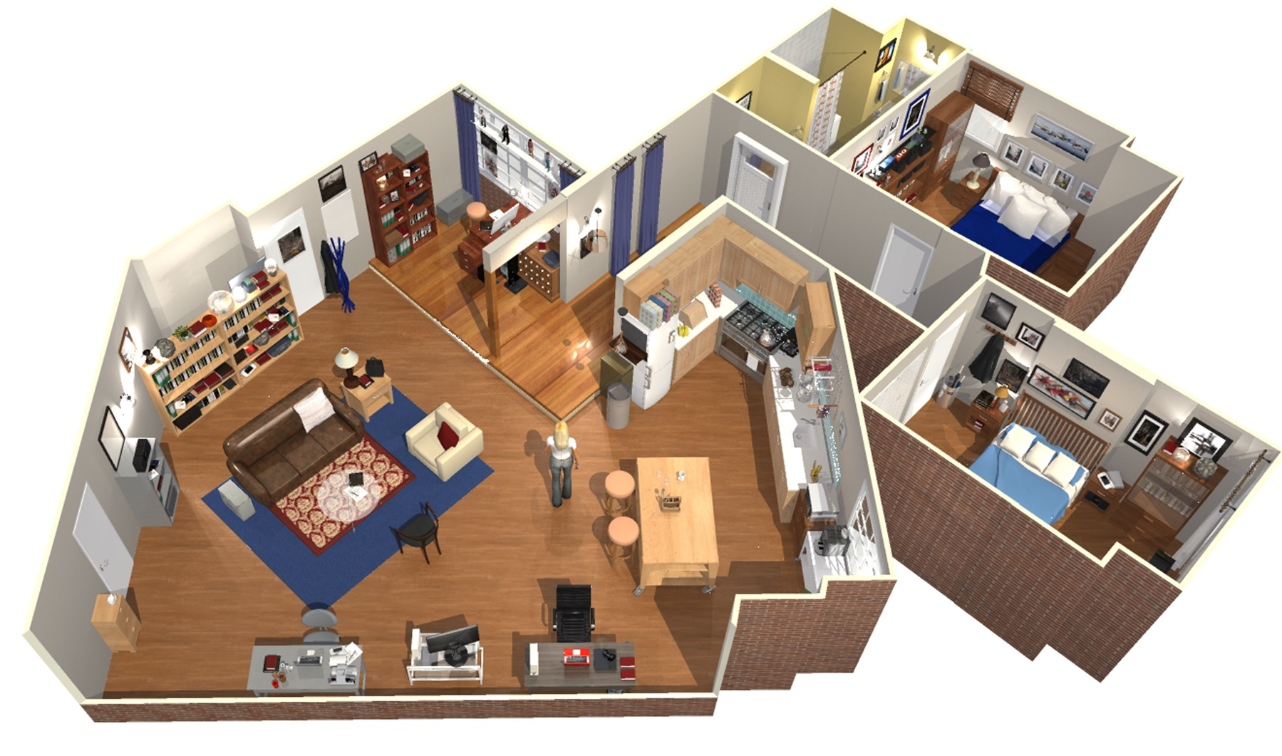 The big bang theory apartment in 3d homebyme for 3d designer wohnung