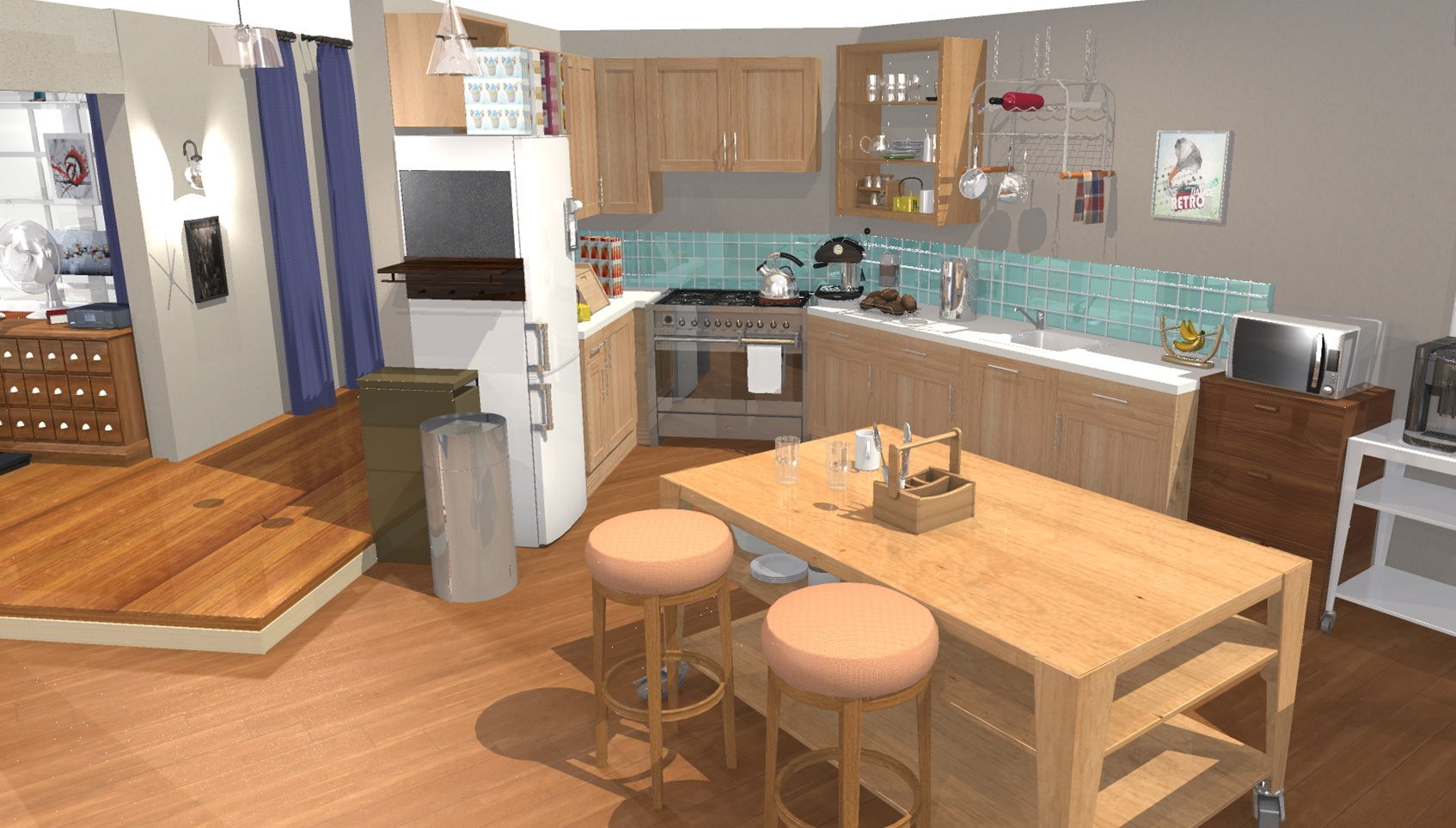 El apartamento de the big bang theory en 3d homebyme for Decoracion piso big bang theory