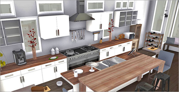 10 cuisines en 3d avec homebyme homebyme for Plan cuisine 2d